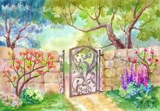 Paisagem da aquarela, a porta ao jardim Um dia ensolarado, um peixe-agulha ilustração do vetor