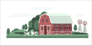 Paisagem da casa da exploração agrícola ilustração do vetor