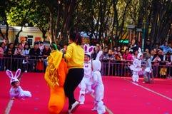 Paisagem da cena dos desempenhos teatrais do jardim de infância Foto de Stock Royalty Free