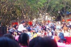 Paisagem da cena dos desempenhos teatrais do jardim de infância Fotografia de Stock