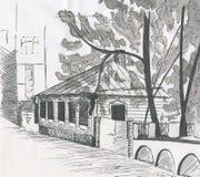 Paisagem da cidade, casas, esboço, telhado da casa, desenho da tinta foto de stock royalty free
