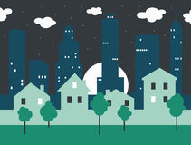 Paisagem da cidade da noite Imagens de Stock