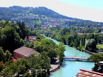 Paisagem da cidade de Berna com o suíço do rio de Aare, Berna Fotos de Stock