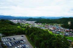 Paisagem da cidade de Takayama em Gifu Japão - em outubro de 2014 imagens de stock royalty free
