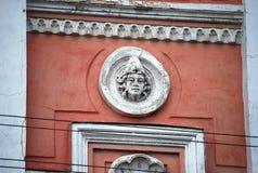Paisagem da cidade Fragmento da construção de tijolo antiga Cidade de Syzran Região do Samara Fotos de Stock Royalty Free
