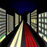 A paisagem da cidade na noite com carros ilumina-se na estrada e no lum ilustração royalty free