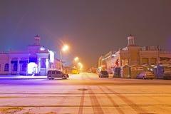Paisagem da cidade na noite no inverno Imagens de Stock Royalty Free