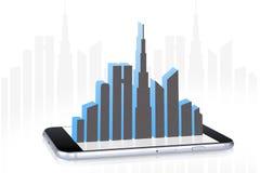 Paisagem da cidade na tela de Smartphone Foto de Stock Royalty Free
