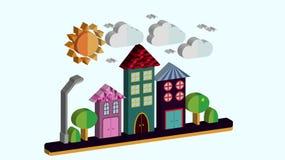 Paisagem da cidade no estilo liso tridimensional A cidade com as casas com telhado de inclinação e as várias telhas bonitas com u ilustração royalty free