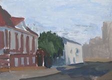 Paisagem da cidade, rua da cidade, casa, esboço da pintura de óleo foto de stock