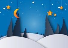 A paisagem da estação do inverno da noite com pinheiro, a lua e as estrelas suportam ilustração royalty free