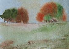 Paisagem da estação do outono, pintura da aquarela Imagens de Stock Royalty Free