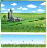 Paisagem da exploração agrícola do vetor Imagens de Stock Royalty Free