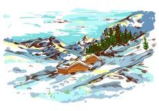 Paisagem da exploração agrícola do esboço do inverno Imagem de Stock