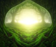 Paisagem da fantasia com floresta sonhadora Imagem de Stock
