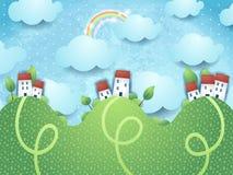 Paisagem da fantasia com montes e casas Fotos de Stock Royalty Free