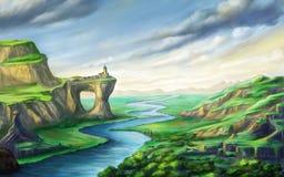 Paisagem da fantasia com rio ilustração royalty free