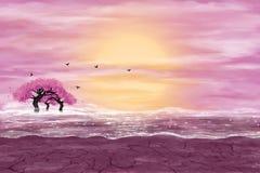 Paisagem da fantasia em cores amarelas e cor-de-rosa ilustração do vetor