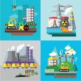 Paisagem da fábrica, conceito da ecologia Fotografia de Stock Royalty Free