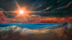 Paisagem da ficção científica com nebulosa, estrelas, paisagem e sol Elementos fornecidos pela NASA rendi??o 3d ilustração stock