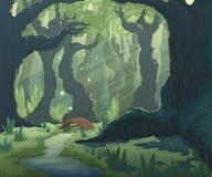 Paisagem da floresta com árvores, rio e ponte Fundo do cenário do conto de fadas dos desenhos animados ilustração stock