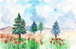 Paisagem da floresta da aquarela Foto de Stock