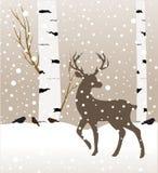 Paisagem da floresta do inverno da neve com cervos Ilustração abstrata do vetor da árvore do forestbirch do inverno Imagem de Stock Royalty Free
