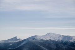 Paisagem da floresta do inverno Montanha no fumo Carpathian, Ucrânia, Europa Imagem de Stock Royalty Free