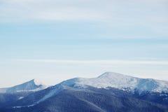 Paisagem da floresta do inverno Montanha no fumo Carpathian, Ucrânia, Europa Imagens de Stock