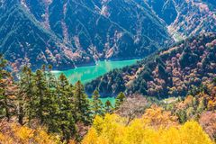 Paisagem da floresta do outono e do lago azul, cumes de Tateyama Japão fotografia de stock royalty free