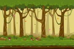 Paisagem da floresta dos desenhos animados, natureza infinita do vetor Foto de Stock Royalty Free