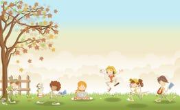 Paisagem da grama verde com os estudantes do adolescente dos desenhos animados ilustração stock