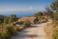 Paisagem da ilha de Corfu imagens de stock