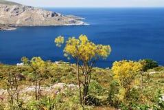 Paisagem da ilha de Leros, ilhas de Dodecanese, Grécia fotografia de stock