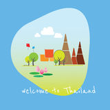 Paisagem da ilustração do templo de Tailândia ilustração stock