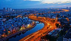 Paisagem da impressão da cidade de Ásia Foto de Stock Royalty Free
