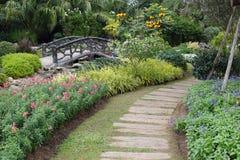 Paisagem da jardinagem floral com caminho Foto de Stock