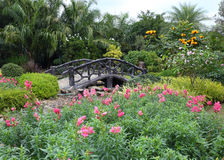 Paisagem da jardinagem floral com caminho e ponte Imagens de Stock Royalty Free