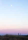 Paisagem da lua, em um céu azul, e no vale com grama Imagens de Stock