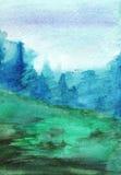 Paisagem da madeira do outono da névoa da floresta do verde de azuis marinhos da aquarela Fotos de Stock
