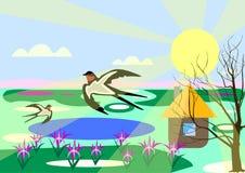 Paisagem da mola com andorinhas ilustração do vetor