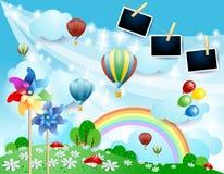 Paisagem da mola com balões, girândolas e quadros da foto imagem de stock