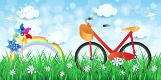 Paisagem da mola com bicicleta e girândolas Imagem de Stock