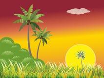 Paisagem da mola com luz do sol Ilustração Stock