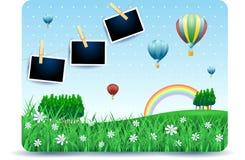 Paisagem da mola com prados, balões e quadros da foto imagens de stock royalty free