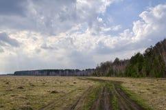 Paisagem da mola com uma estrada e as nuvens fotografia de stock royalty free