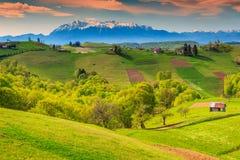 Paisagem da mola e vila rural, Holbav, a Transilvânia, Romênia, Europa Fotografia de Stock Royalty Free