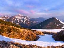 Paisagem da mola nas montanhas Fotos de Stock