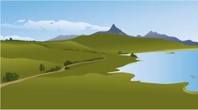 Paisagem da montanha com lago Imagens de Stock Royalty Free