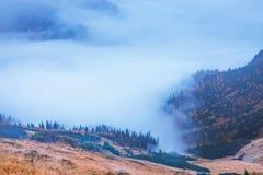 Paisagem da montanha com névoa abaixo dos picos em tons azuis imagem de stock
